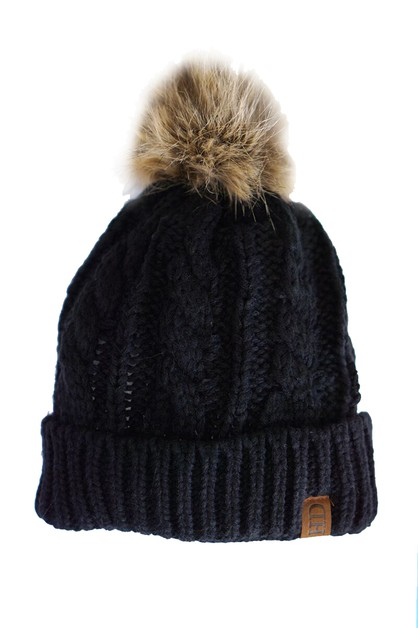 Kids solid black pompom cable beanie - orangeshine.com