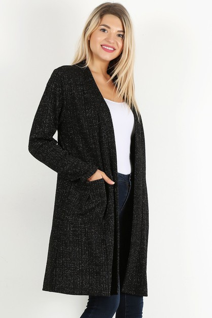 OPEN LOOSE FIT SIDE POCKET CARDIGAN - orangeshine.com