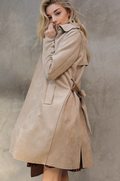 SOLID VEGAN SUEDE TRENCH COAT JACKET - orangeshine.com
