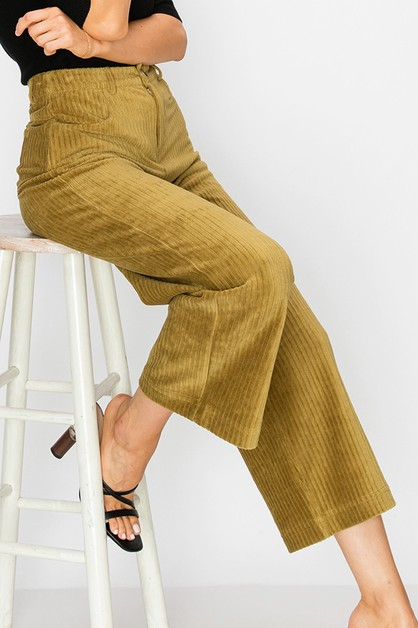 HIGH RISE WIDE LEG CORDUROY PANTS - orangeshine.com
