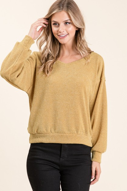 V-NECK KNIT LONG SLEEVE TOP	 - orangeshine.com