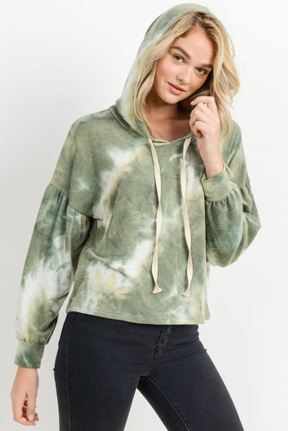 Tie Dyed Frech Terry Hooded Top - orangeshine.com