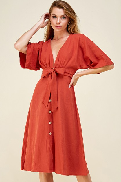 Belted button down dress - orangeshine.com