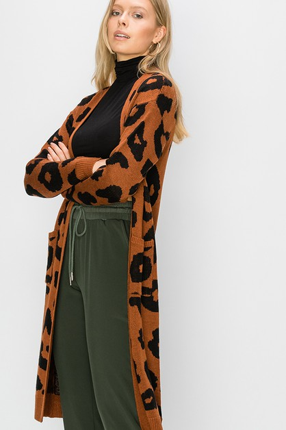 ANIMAL PRINT LONG LINE OPEN CARDIGAN - orangeshine.com