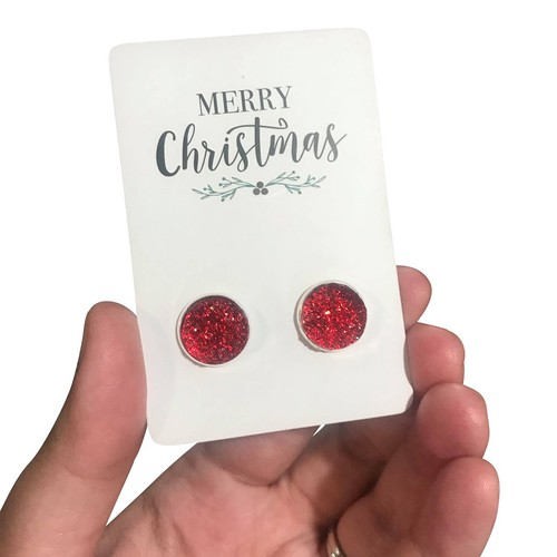 Red Druzy - Christmas Earrings - orangeshine.com