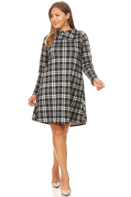 PLUS MIDI PLAID DRESS - orangeshine.com