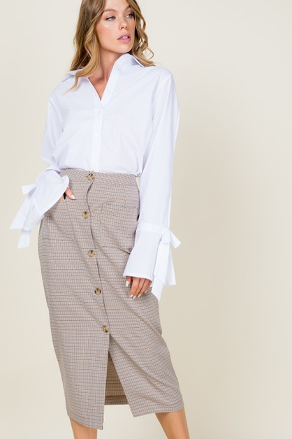Button down pattern pencil skirt - orangeshine.com