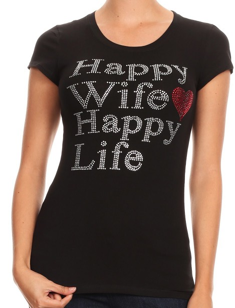 Happy Wife Happy Life with Red Heart - orangeshine.com