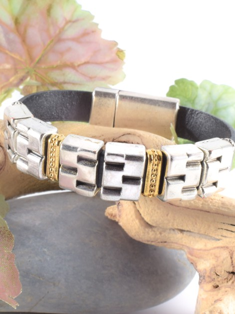 Leather and Mixed Metal Bracelet - orangeshine.com