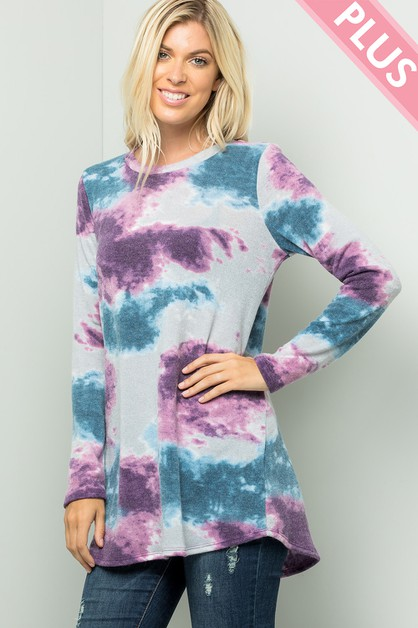 Plus Size Sweater Tie Dye Top - orangeshine.com