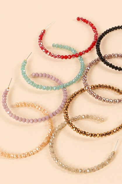 Mini Glass Beads Open Hoop Earrings - orangeshine.com
