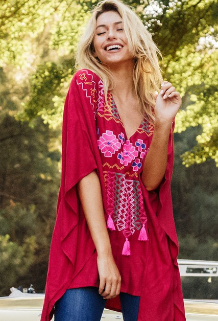 GYPSY KNOT EMBROIDERED TUNIC - orangeshine.com
