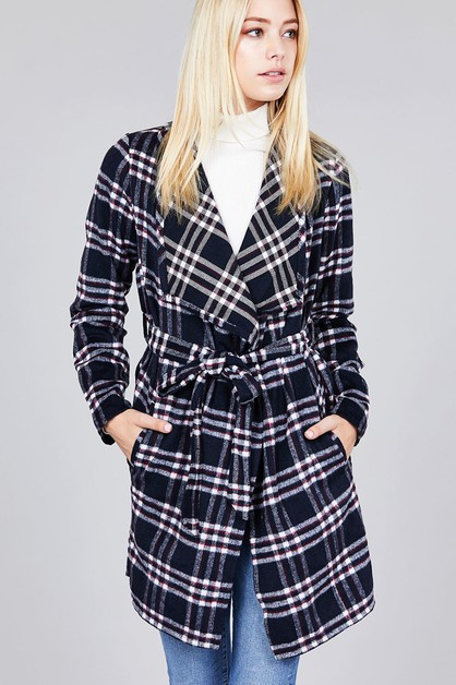 LONG SLEEVE BELT HEAVY PLAID JACKET - orangeshine.com