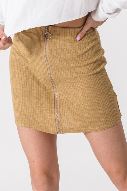 O-RING ZIP FRONT MINI SKIRT - orangeshine.com