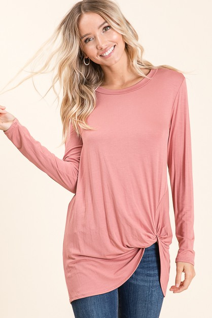 RELAXED FIT LONG SLEEVE KNOT TOP - orangeshine.com