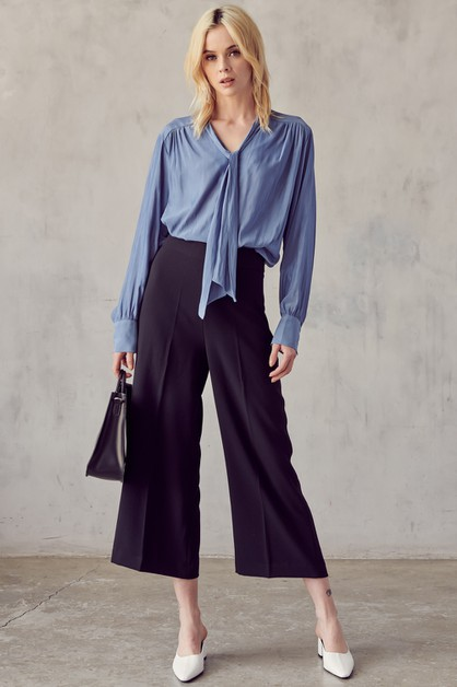 RIBBON NECK TIE BLOUSE - orangeshine.com