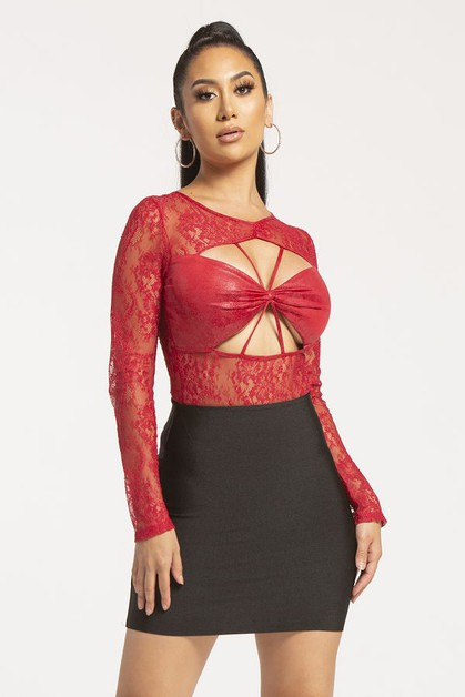 Long Sleeve Lace Cutout Bodysuit - orangeshine.com