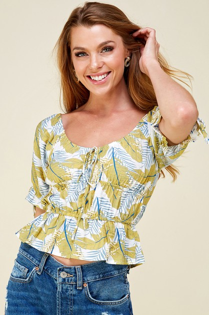 Leaf print tiered top - orangeshine.com