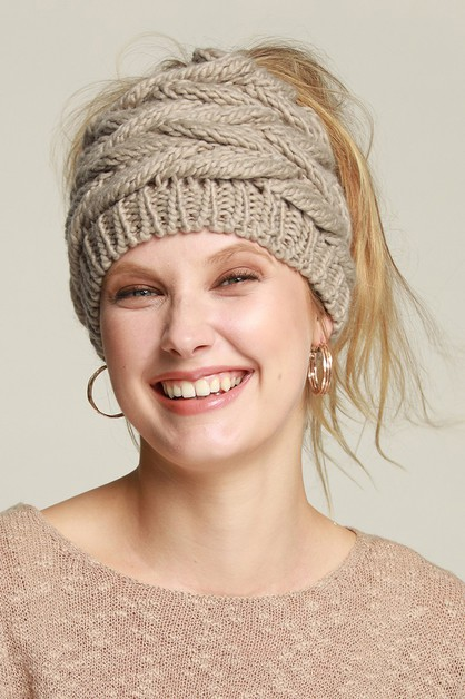 Soft Knit Messy Ponytail Bun Beanie - orangeshine.com