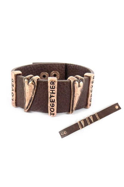 RUSTIC HEART LEATHER BRACELET - orangeshine.com