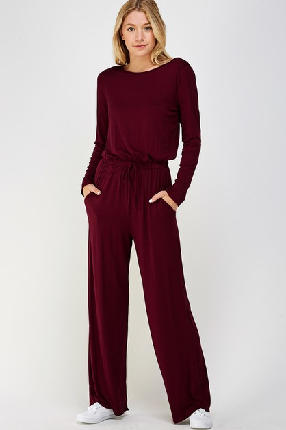 LONG SL SCOOP BACK WIDE LEG JUMPSUIT - orangeshine.com