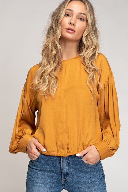 DROP SHOULDER CROP FRONT BUTTON CLOSURE - orangeshine.com