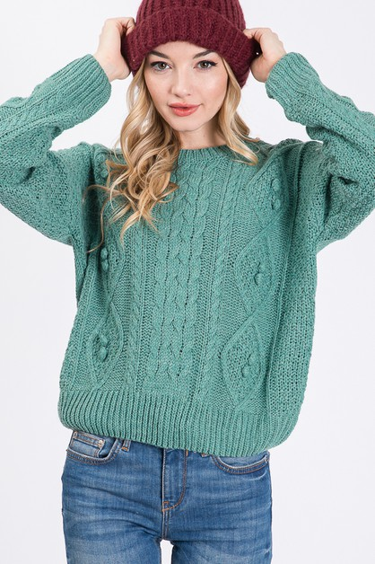 SOLID PATTERNED POM POM SWEATER - orangeshine.com