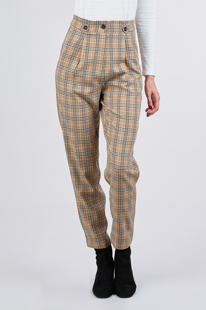 HIGH WAIST PLAID PANTS  - orangeshine.com