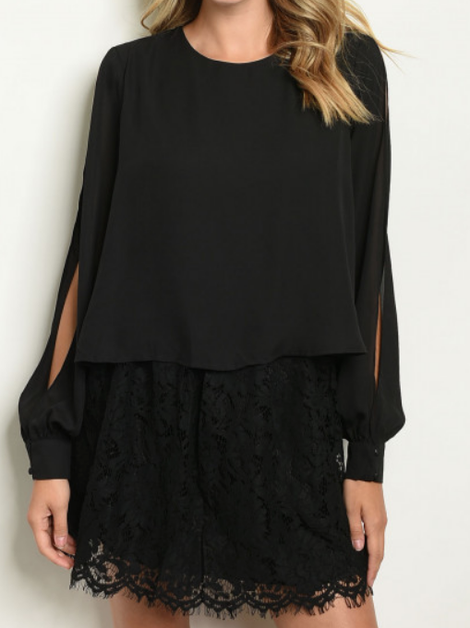 Black Long Sleeve Dress - orangeshine.com