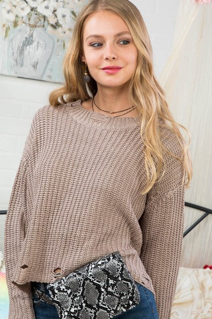 Mock Neck Long Sleeve Distress Crop  - orangeshine.com