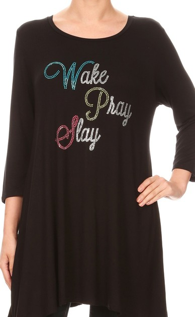 Wake Pray Slay Rhinestone Dress - orangeshine.com