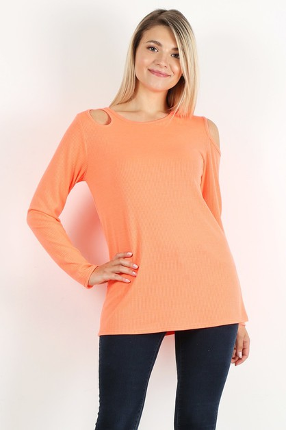 NECKLINE CUT OUT LONG SLEEVE TOP - orangeshine.com