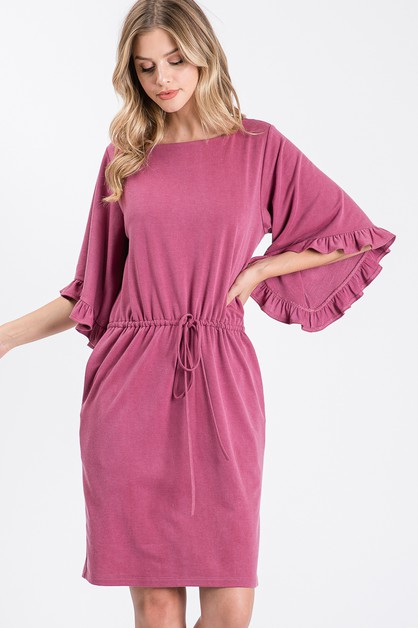 Solid Ruffle Bell Sleeve Tunic Dress - orangeshine.com