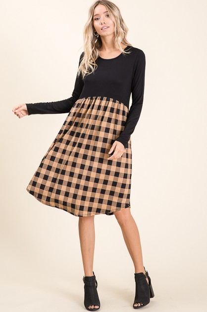 PLAID COLOR BLOCK DRESS - orangeshine.com