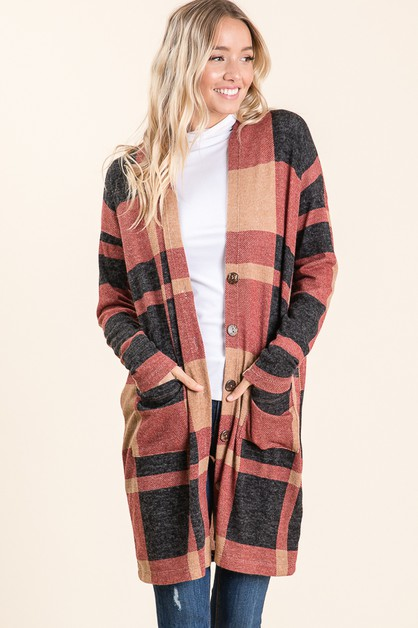Plaid Long Sleeves Button Cardigan - orangeshine.com