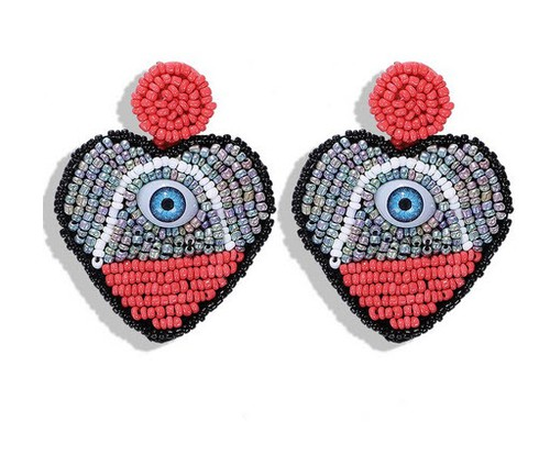 Beaded evil eye drop earrings - orangeshine.com
