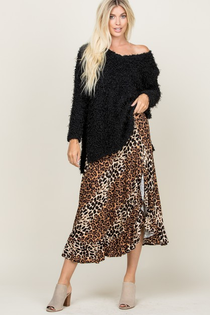 RUFFLED LEOPARD PRINTED SKIRT - orangeshine.com