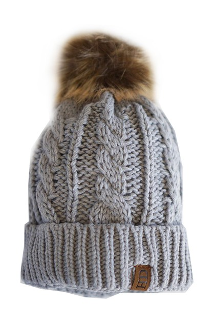 Kids solid grey pompom beanie - orangeshine.com