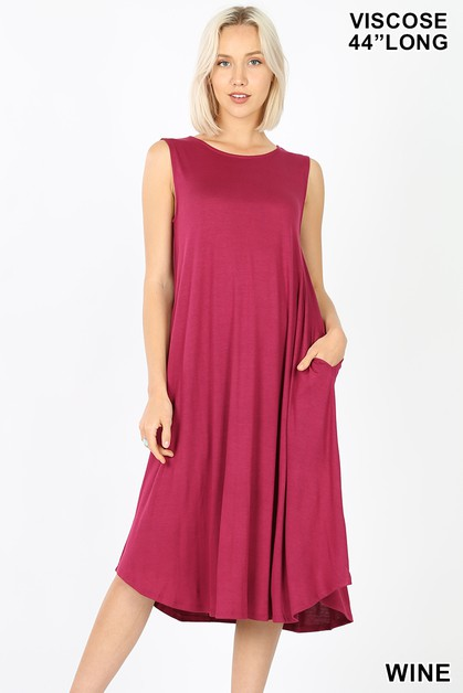 VISCOSE ROUND NECK POCKET DRESS - orangeshine.com