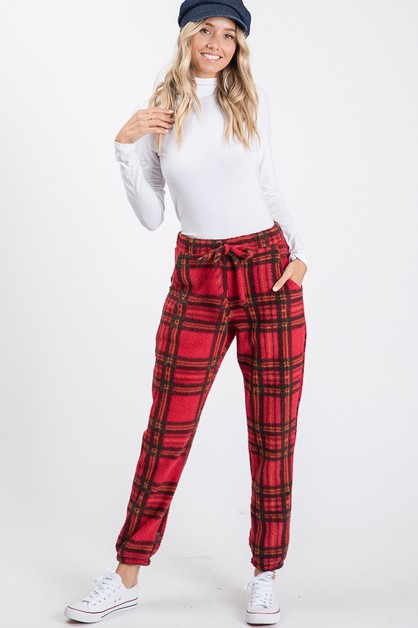 PLAID FUR  SWEATPANTS  - orangeshine.com