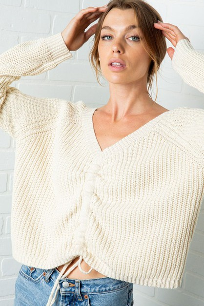 KNIT RUCHED BOAT NECK PULL OVER SWEA - orangeshine.com