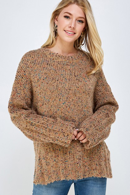 Chunky Knit Multi  Color Sweater - orangeshine.com
