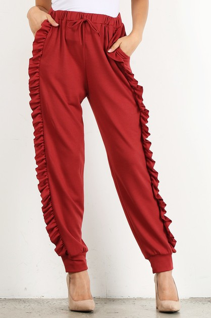 fitted jogger ruffle detail pants - orangeshine.com
