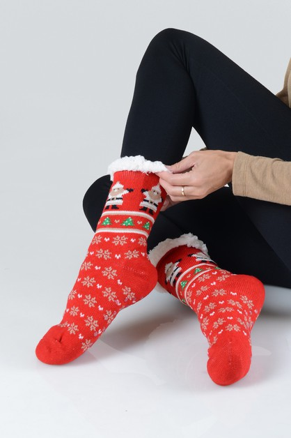Faux Sherpa Christmas Spirit Slipper - orangeshine.com
