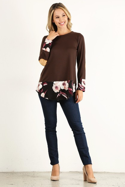 ELBOW PATCH FLORAL TRIM TOP - orangeshine.com