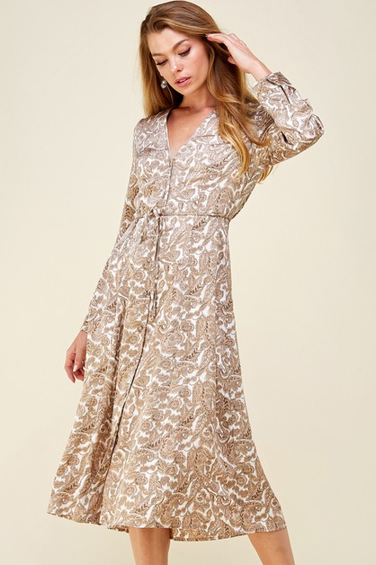 Paisley button down satin dress - orangeshine.com