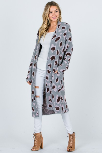 Leopard long-slv sweater cardigan - orangeshine.com