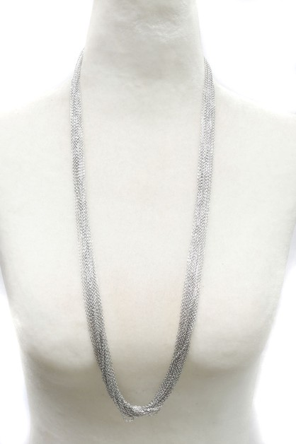 MULTI LINE METAL LONG NECKLACE  - orangeshine.com