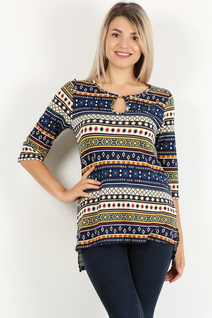 TRIBAL PRINT HI LO KEYHOLE TOP - orangeshine.com