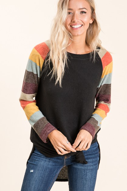 CASUAL LONG SLEEVE RAGLAN TOP  - orangeshine.com
